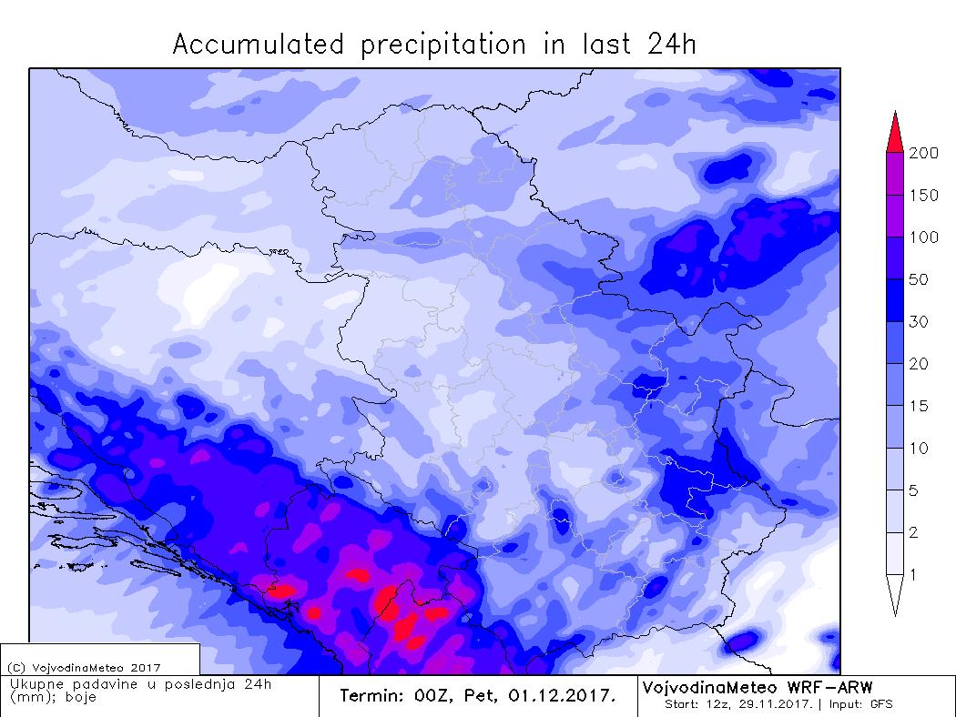 VojvodinaMeteo ARW model - ukupna količina padavina u četvrtak