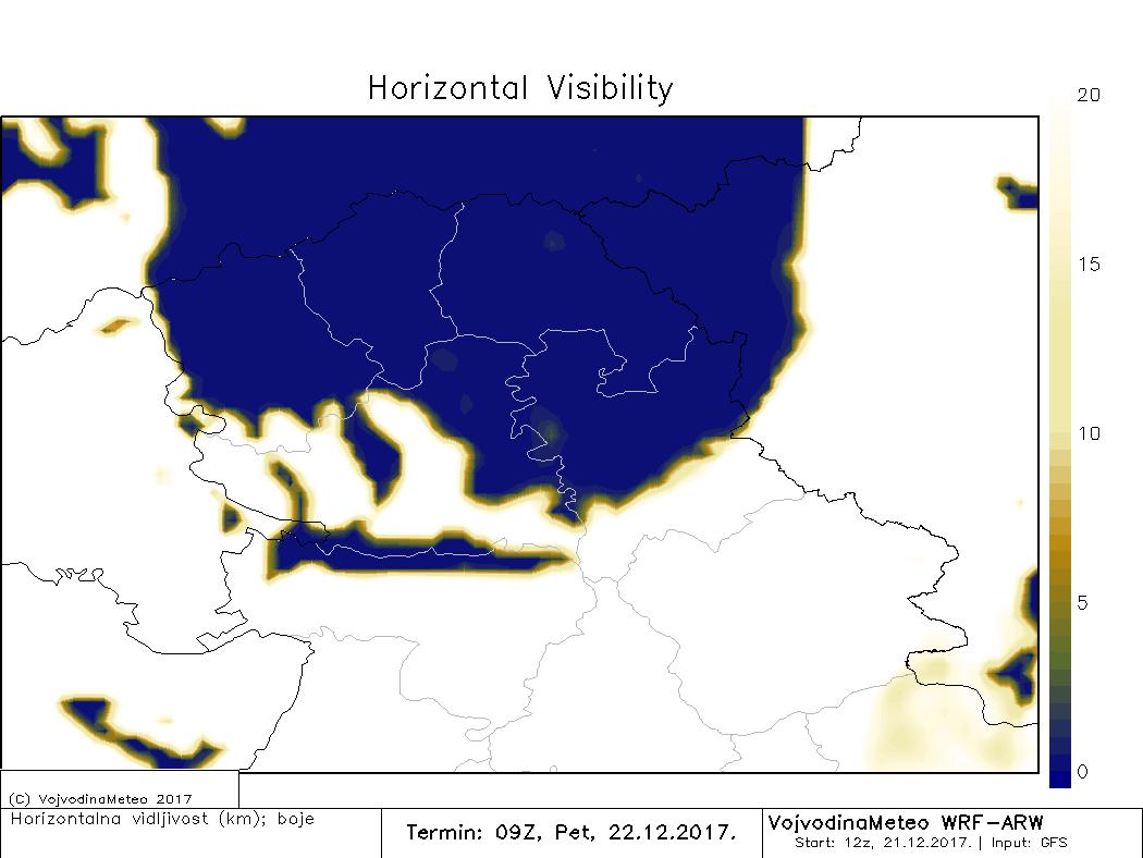 ARW - smanjena vidljivost u većem delu Vojvodine u petak pre podne