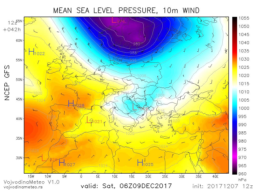 Ciklon iznad Jadrana u subotu ujutru - GFS