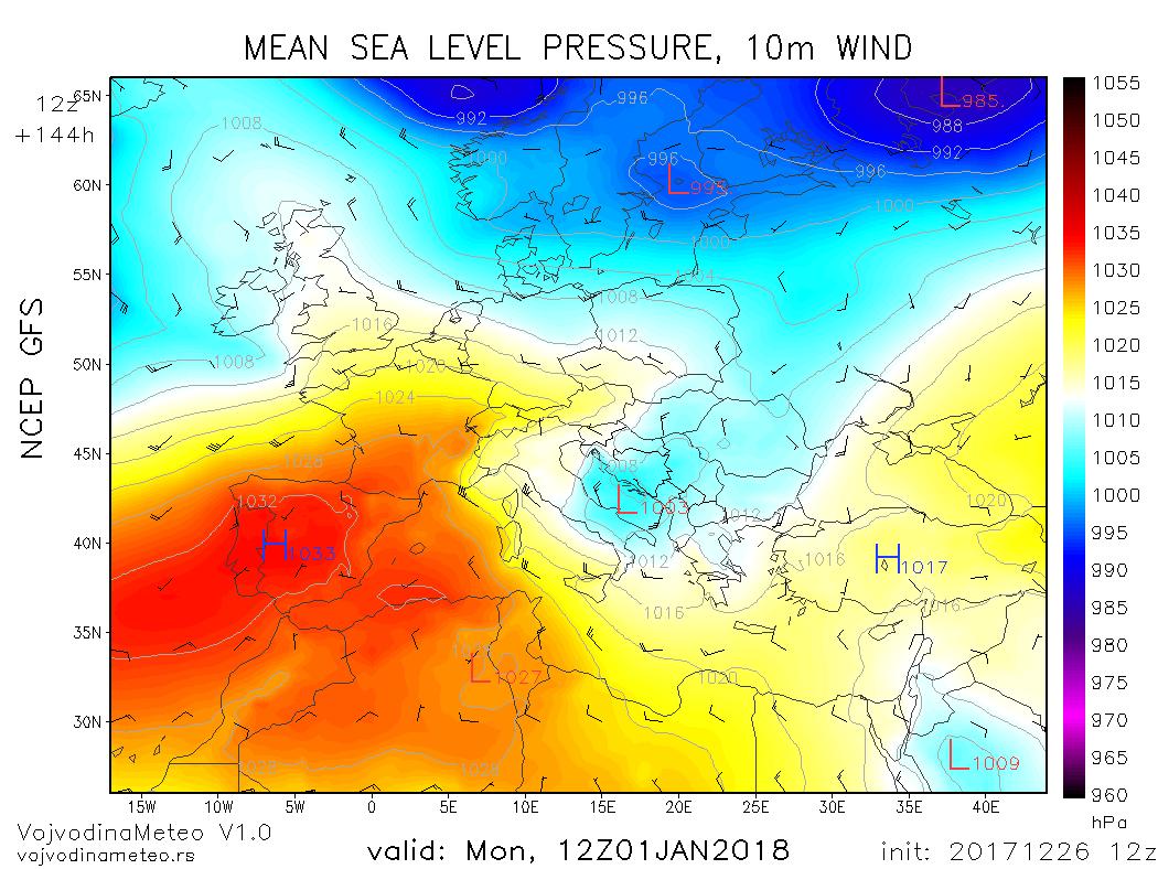 Ciklon sa centrom u središnjem Jadranu (GFS) - ponedeljak 1. januar 2018