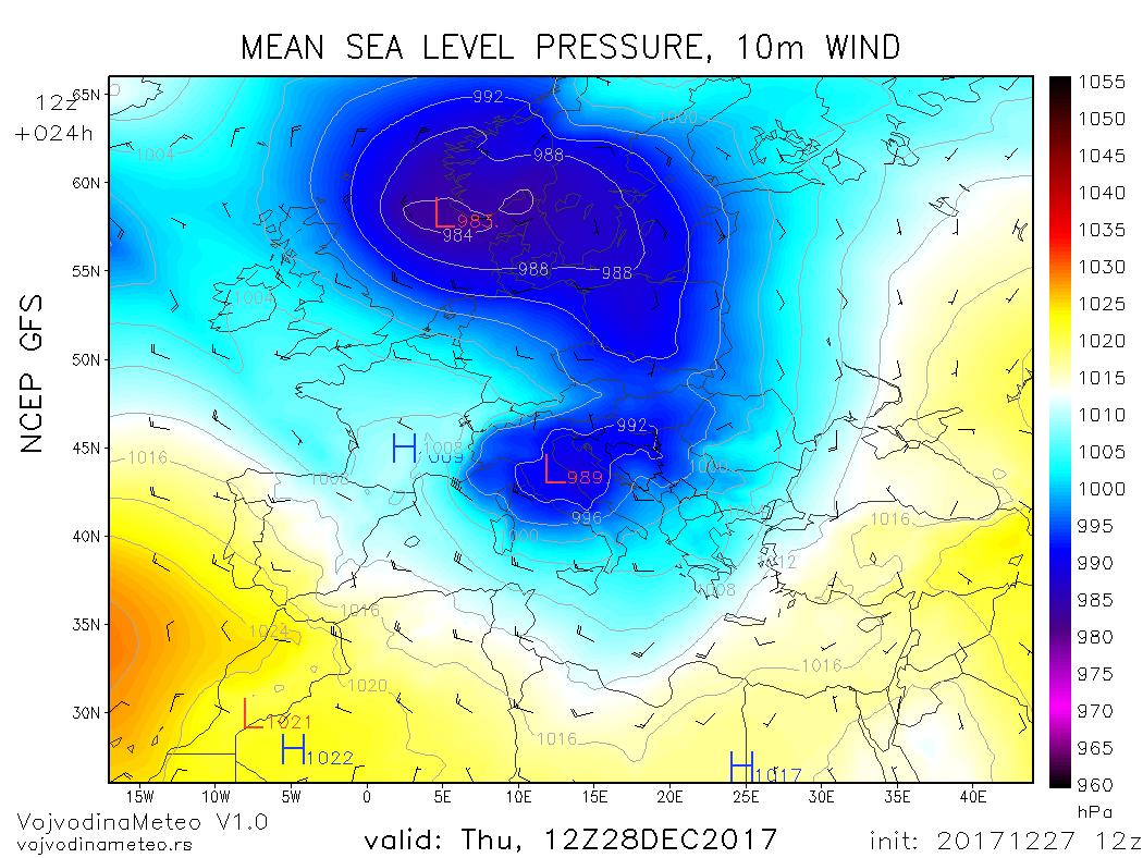 Cikloni diktiraju vreme u većem delu Evrope u četvrtak (GFS)