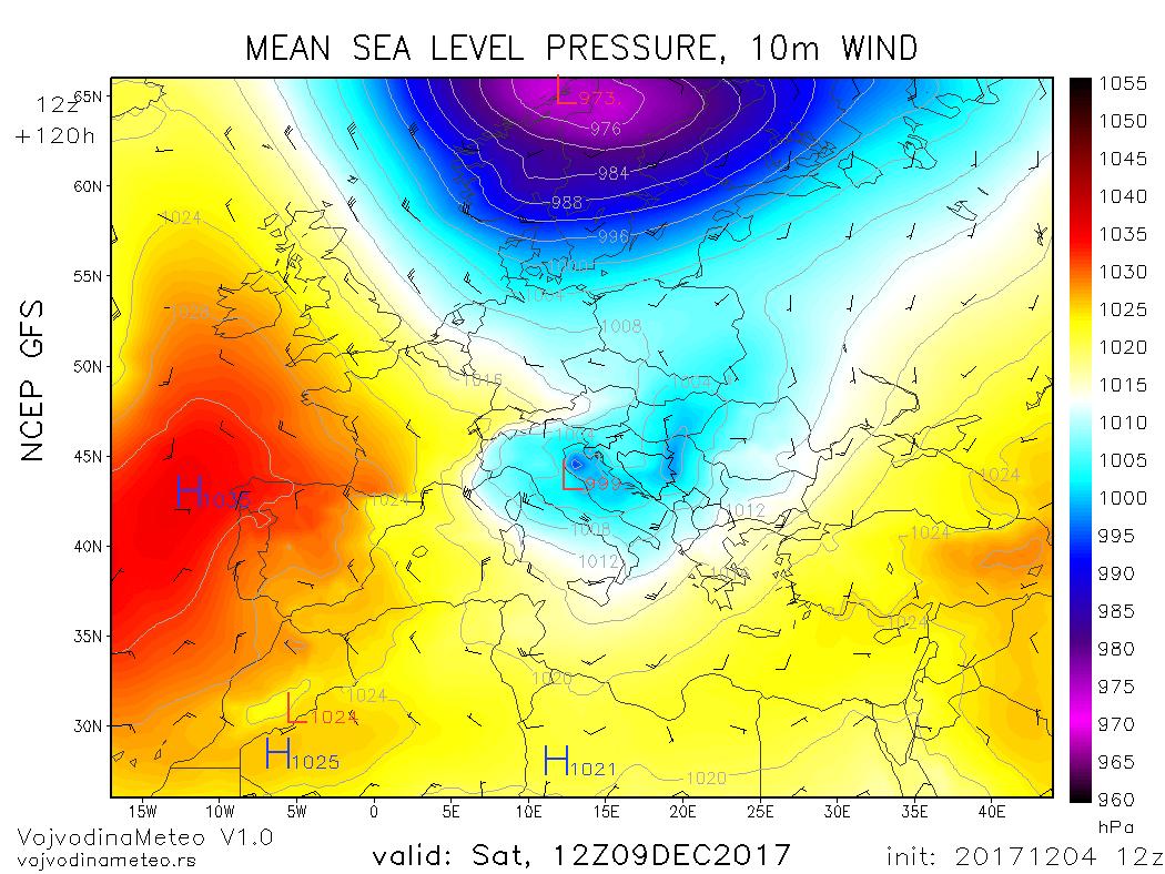 GFS - Đenovski ciklon sa centrom u severnom Jadranu u subotu