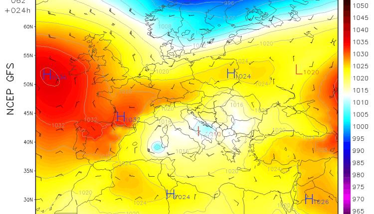 GFS - pozicija ciklona sutra ujutru