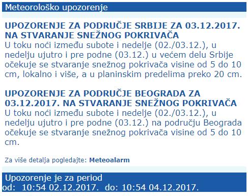 RHMZ Srbije - upozorenje na snežni pokrivač
