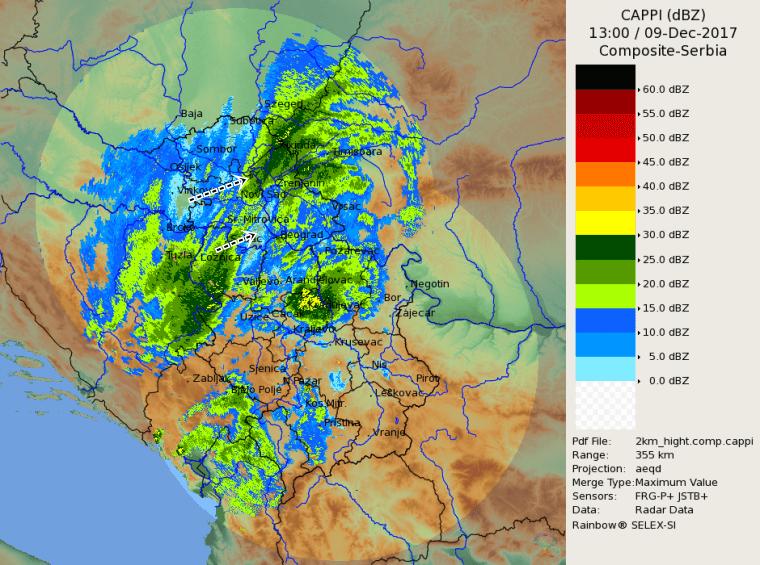 Radar kompozit 14h - izmeštanje padavina u narednim satima ka istoku (Izvor: RHMZ)