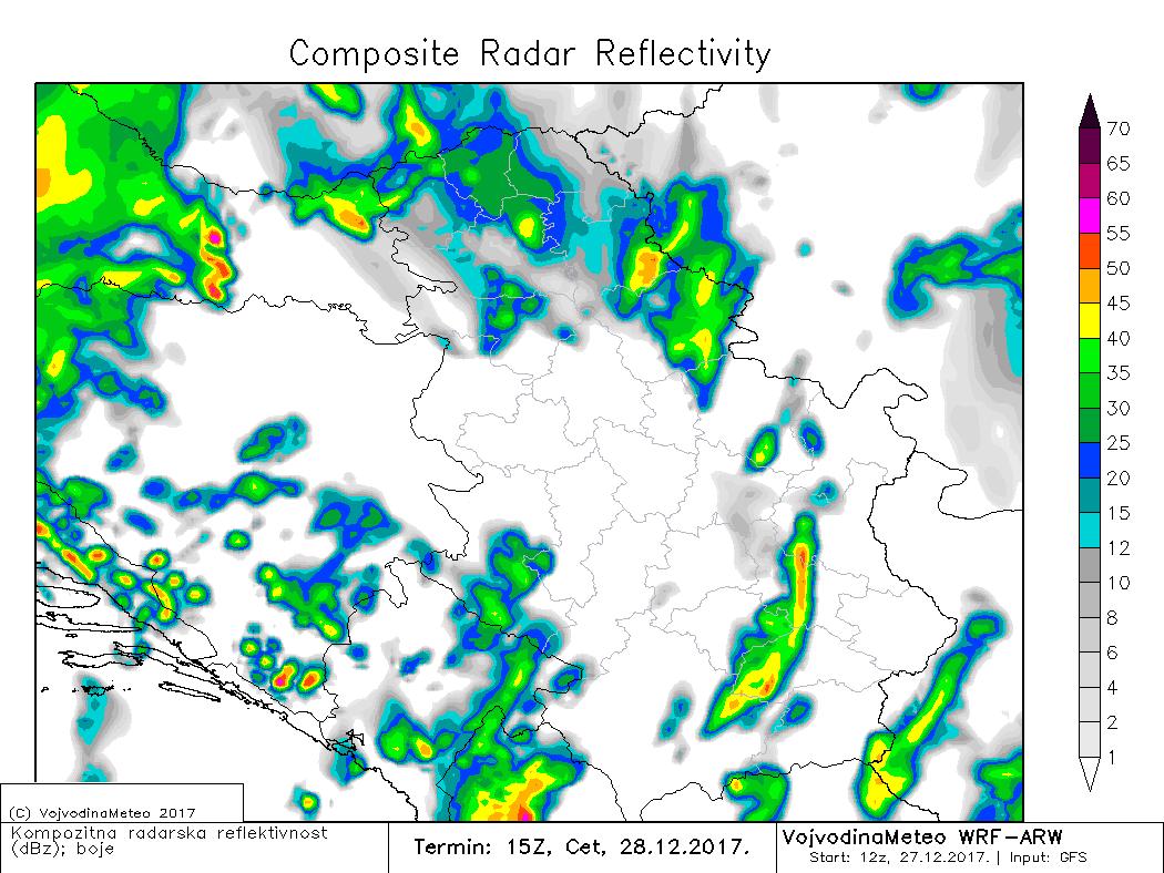 Simulacija radarske reflektivnosti za četvrtak kasno poslepodne (ARW)