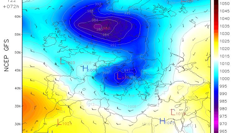Sinoptička situacija u četvrtak sredinom dana - ciklon u Jadranu (GFS)
