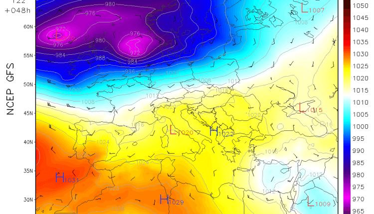 Sinoptička situacija u nedelju (GFS) - naše područje na periferiji anticiklona