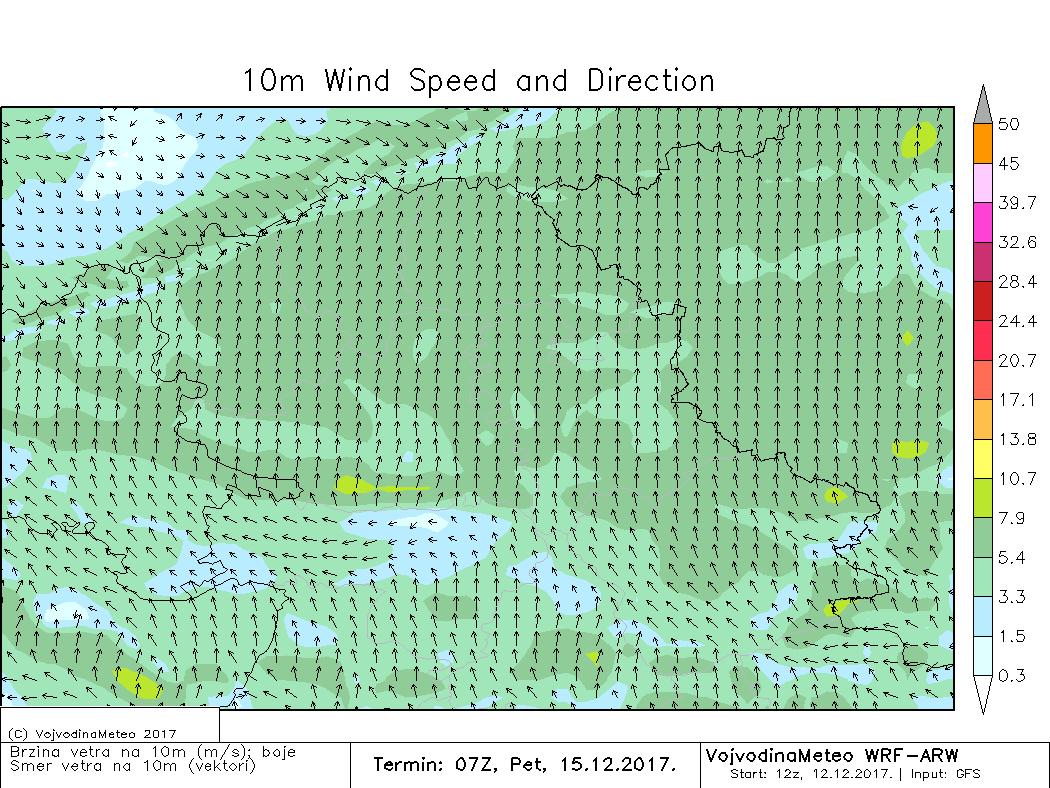 Srednja brzina vetra u petak 8h - ARW