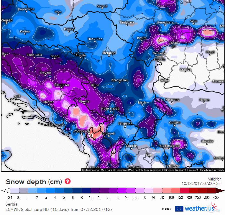 Visina snežnog pokrivača u nedelju ujutru - ECMWF