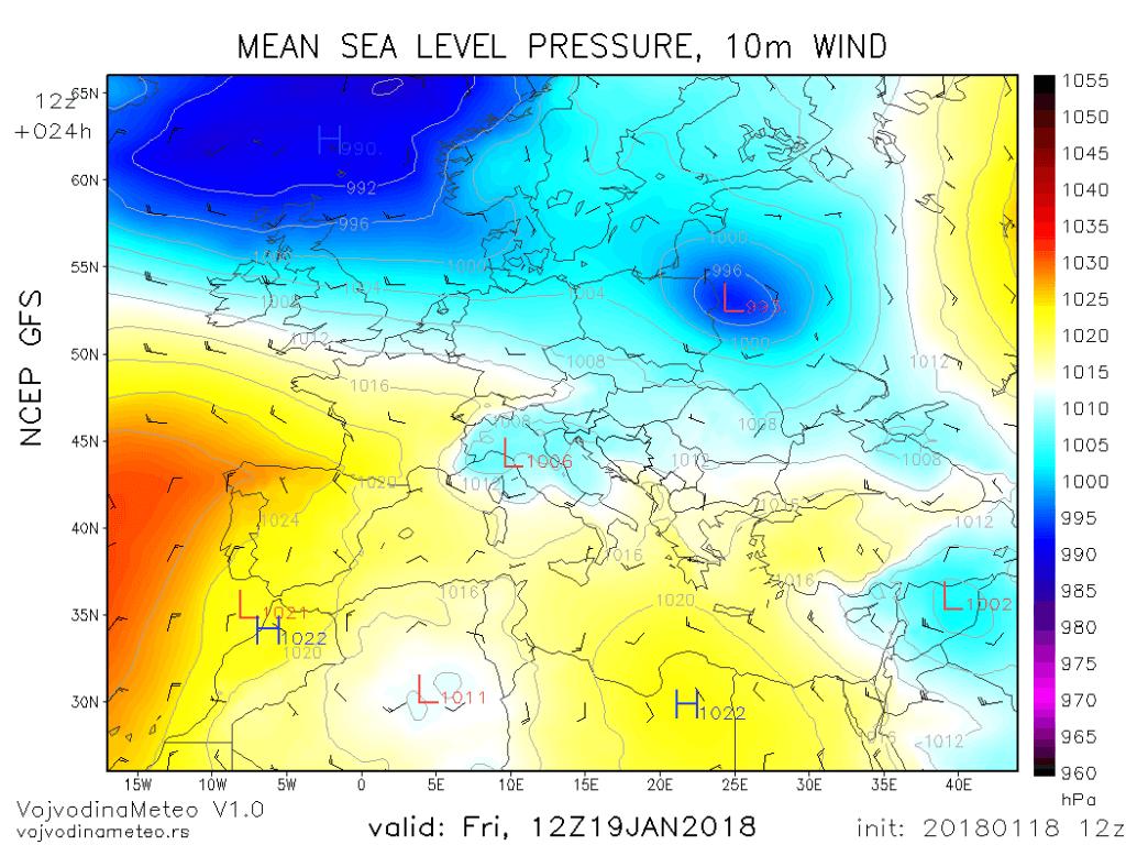 Ciklon na severu Jadrana u petak (GFS)