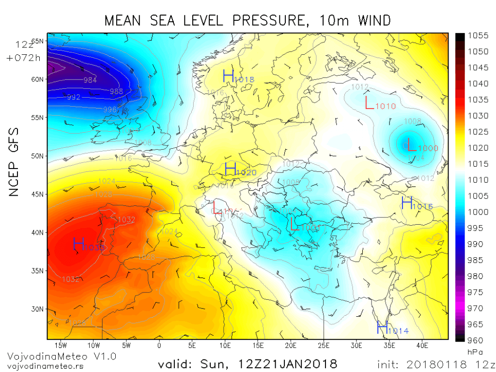 Ciklon sa centrom na jugu Balkana u nedelju (GFS)