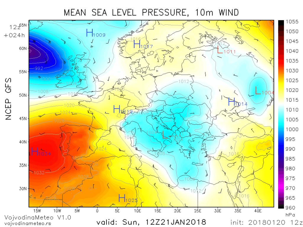 Ciklon sa centrom u južnom Jadranu (GFS)