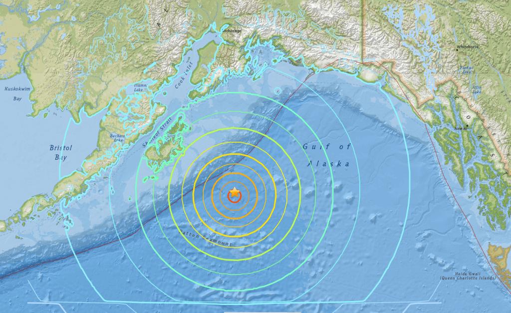 Epicentar zemljotresa 7.9 Rihtera na Aljasci