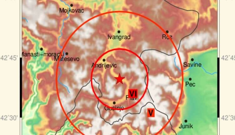 Epicentar zemljotresa u Crnoj Gori - 4. januar 2018