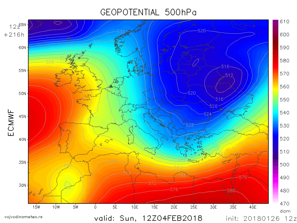 Geopotencijal_AT (ECMWF) - 4. februar 2018