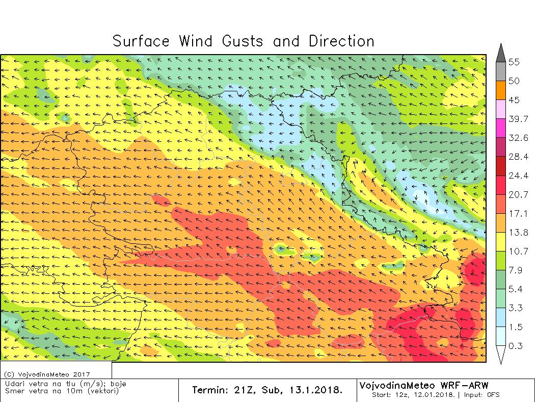 Maksimalni udari vetra (košave) u subotu uveče (ARW)