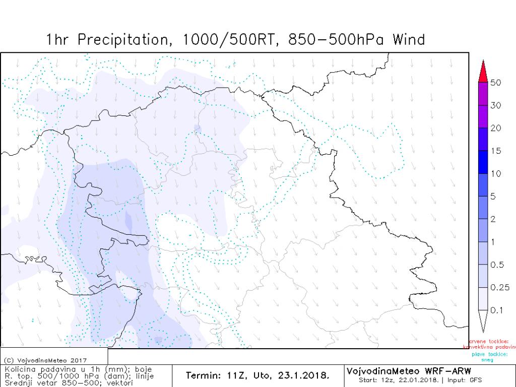 Mestimično provejavanje snega, uglavnom u zapadnim predelima (ARW)