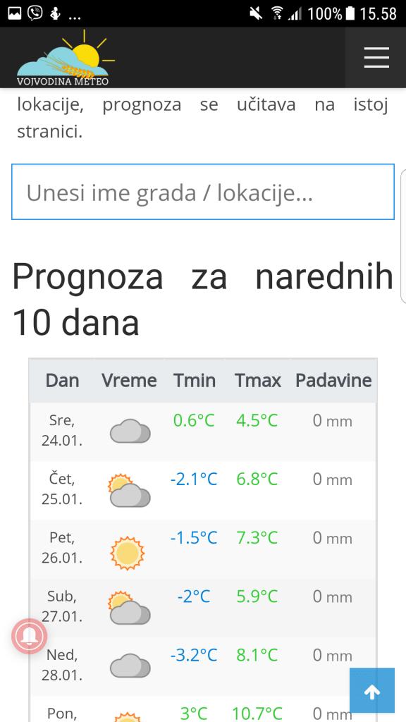 Prognoza mobile - narednih 10 dana