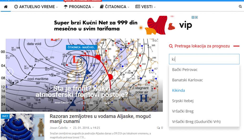 Prognoza po lokaciji - widget za pretragu lokacija sa desne strane