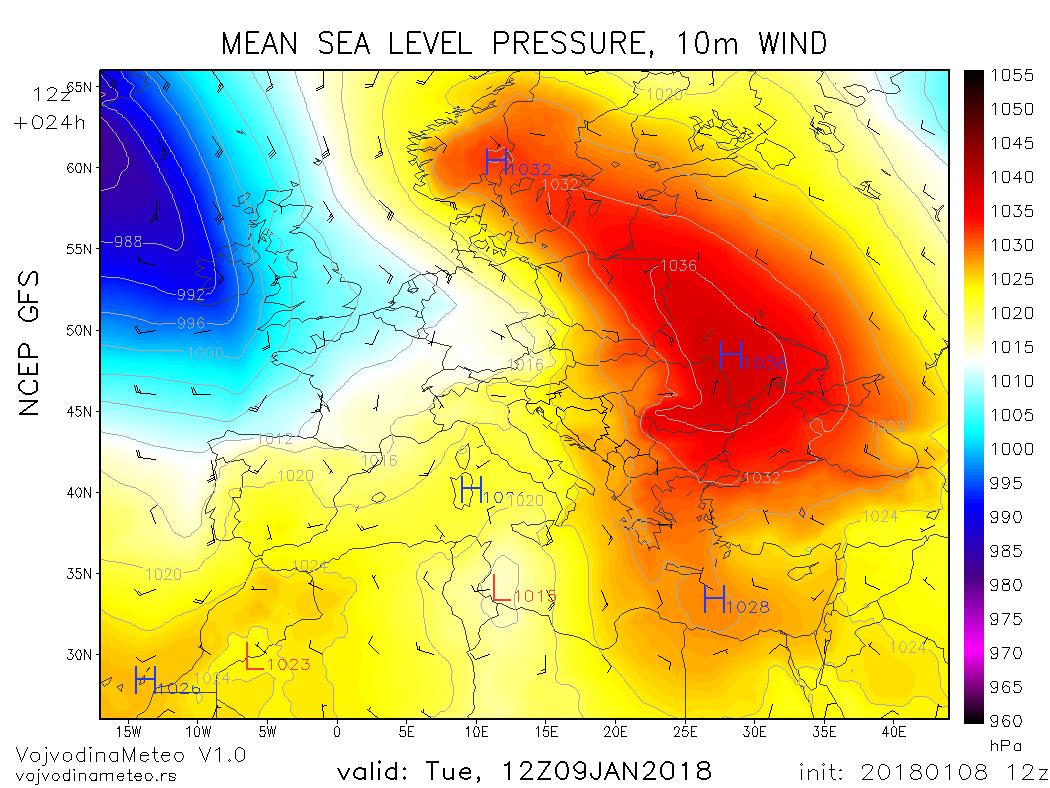 Prostrani anticiklon nad istočnom polovinom Evrope u utorak (GFS)
