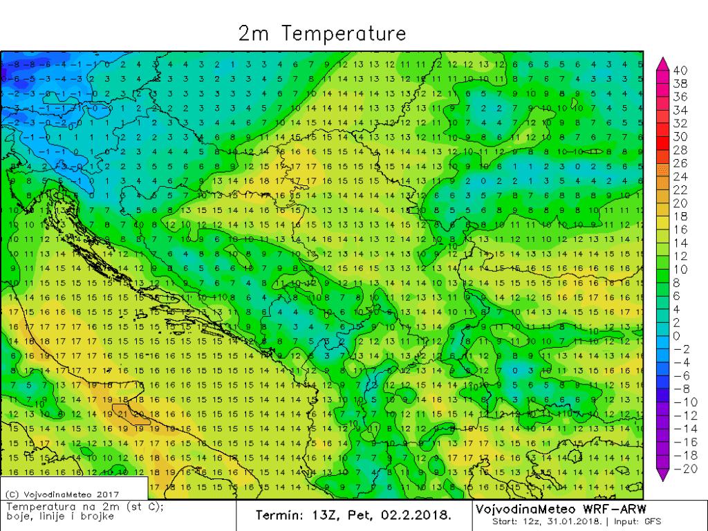 Temperature sredinom dana u petak u regionu (ARW)