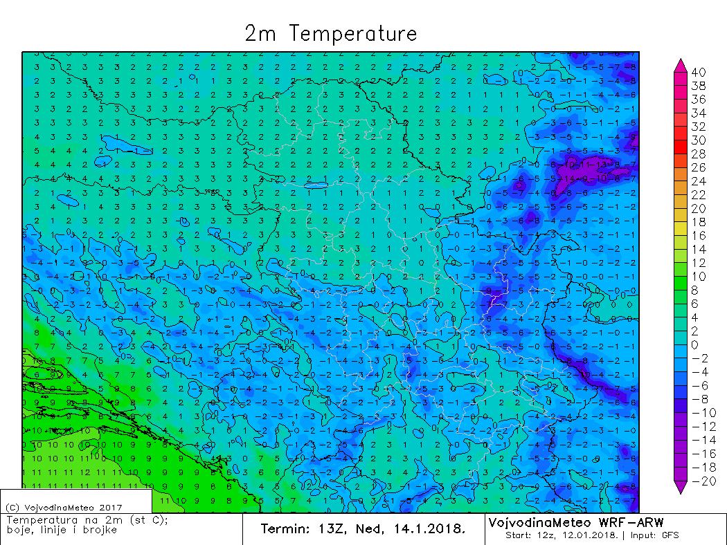 Temperature u nedelju tokom dana (ARW)