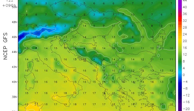 Temperature u regionu u nedelju (GFS)