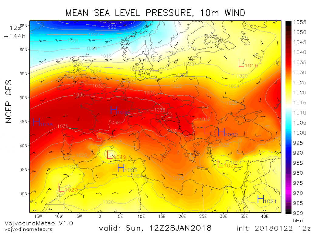 U nedelju prostrani anticiklon diktira vreme u najvećem delu Evrope (GFS)
