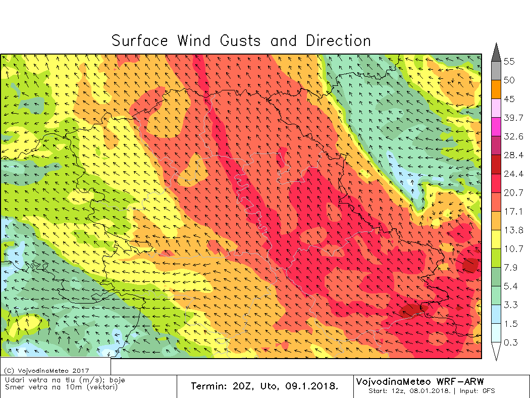 Udari vetra u utorak uveče (ARW)