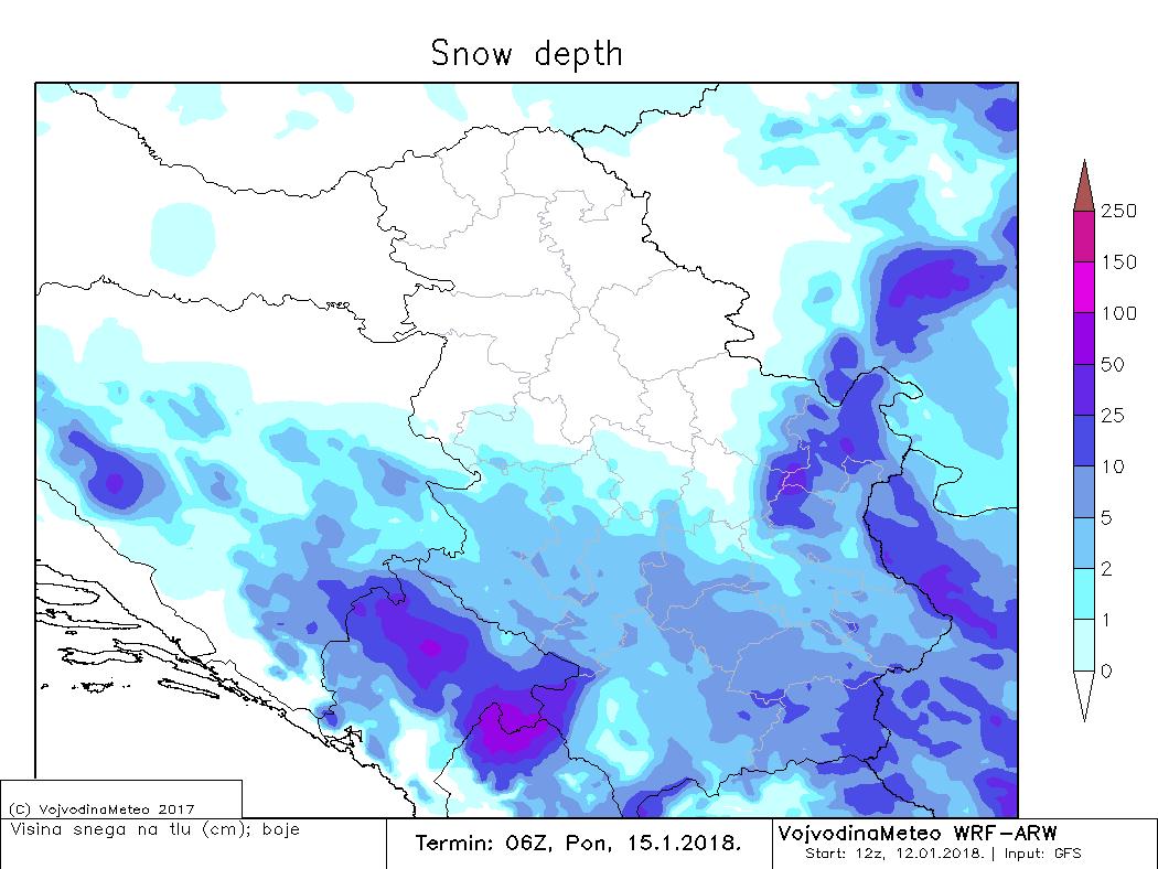 Visina snežnog pokrivača u ponedeljak ujutru (ARW)