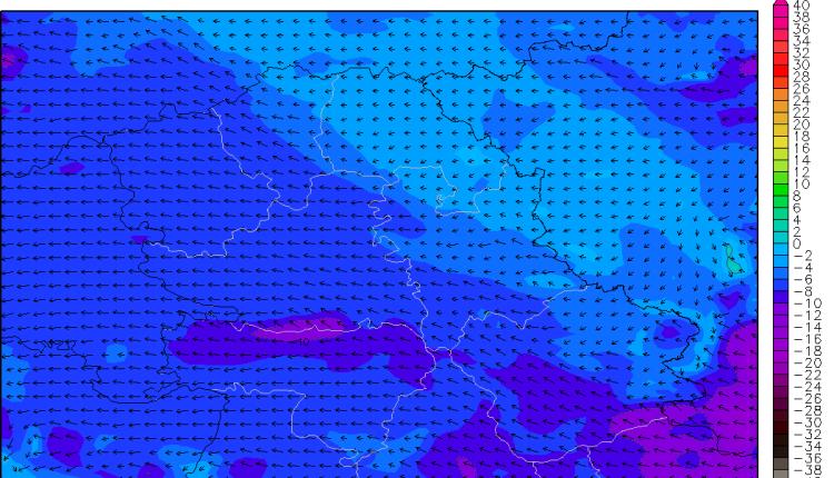 Windchill (subjektivni osećaj temperature) u nedelju ujutru (ARW)