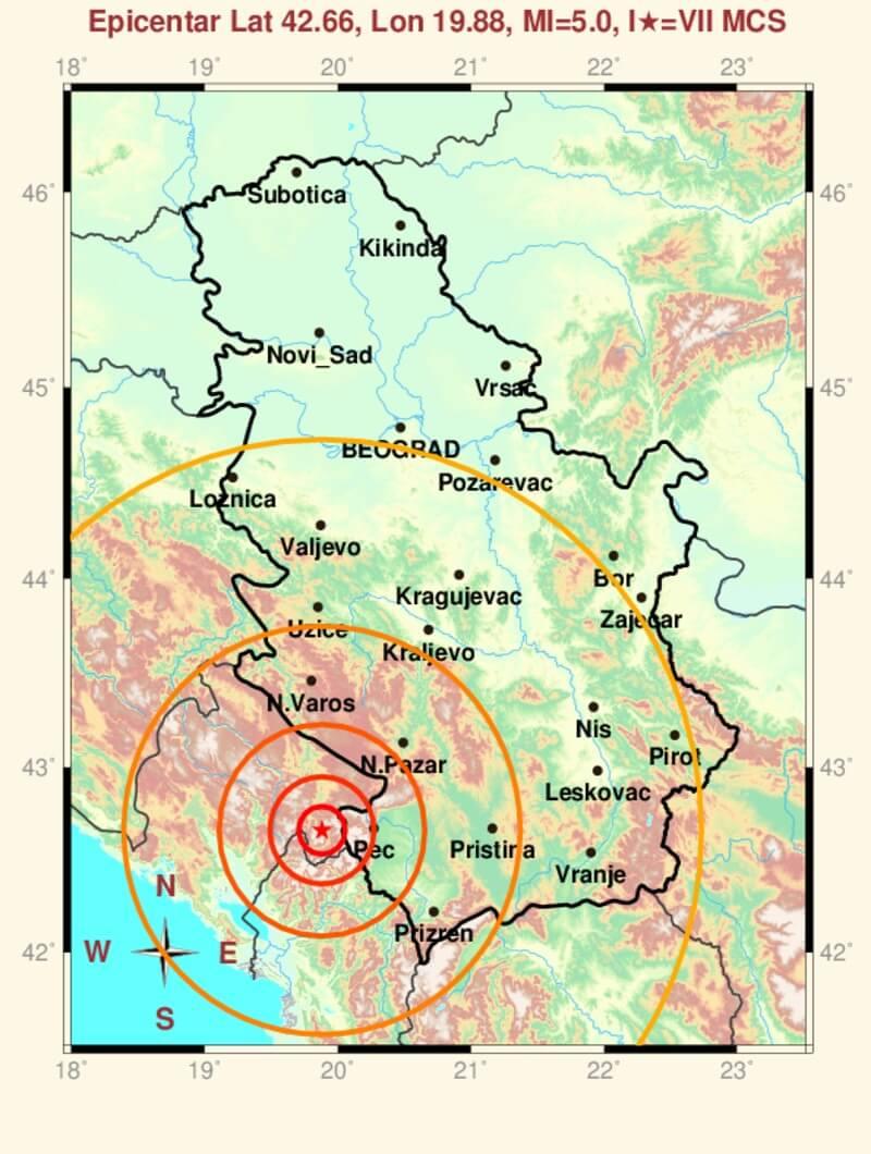 Zemljotres u Crnoj Gori - 4. januar 2018