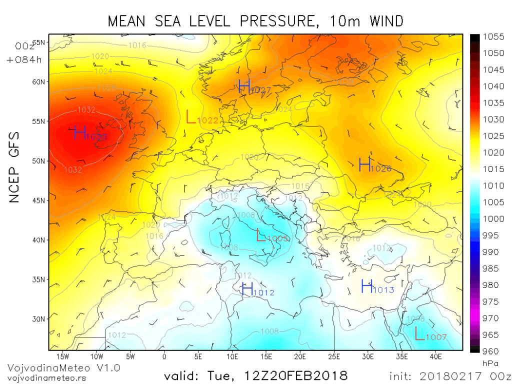 Đenovski ciklon uticaće na vreme kod nas nekoliko dana tokom naredne sedmice (GFS)