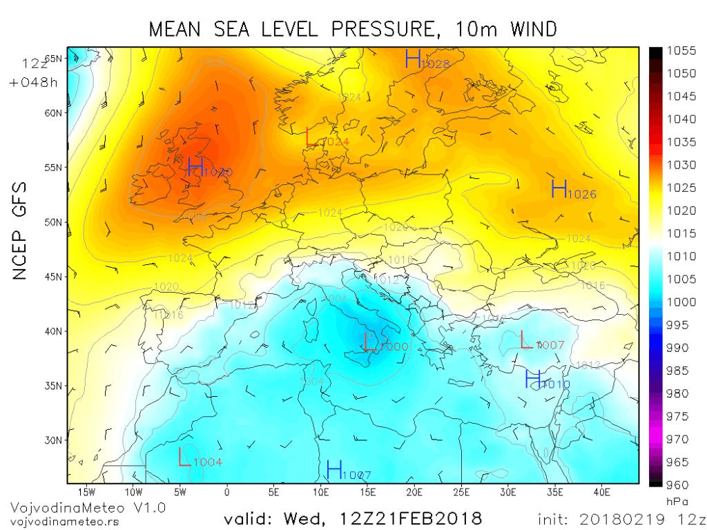 Ciklon u Sredozemlju koji će uticati na vreme kod nas narednih dana (GFS)