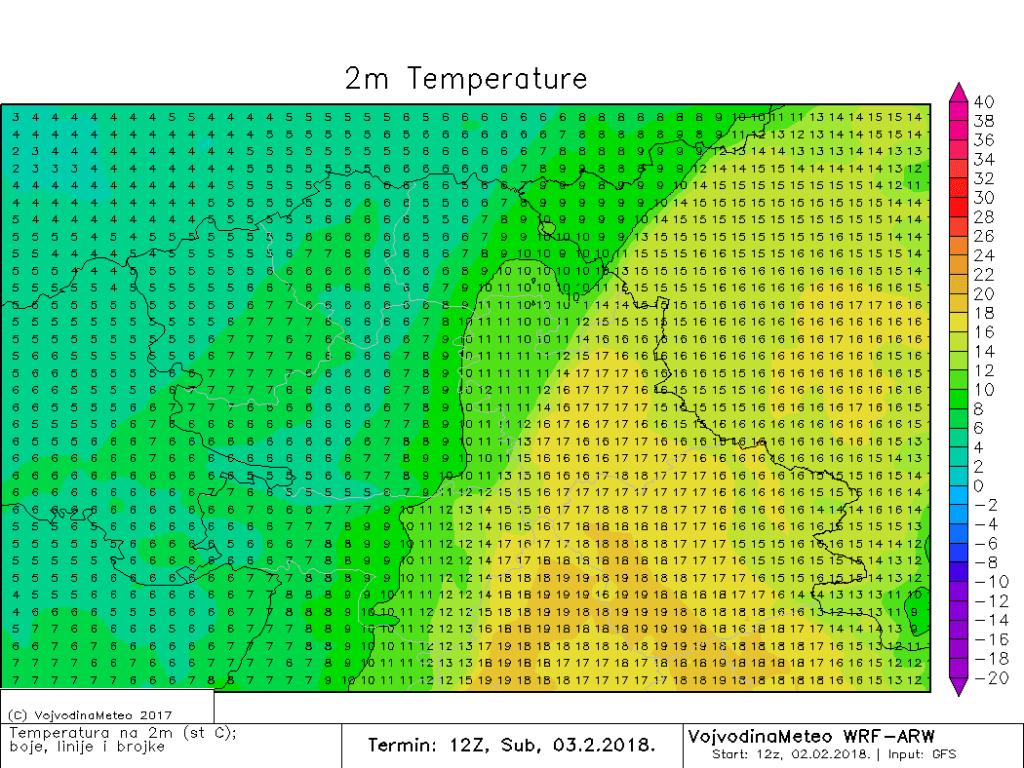 Izražena razlika u temperaturi u Vojvodini sredinom dana (ARW)