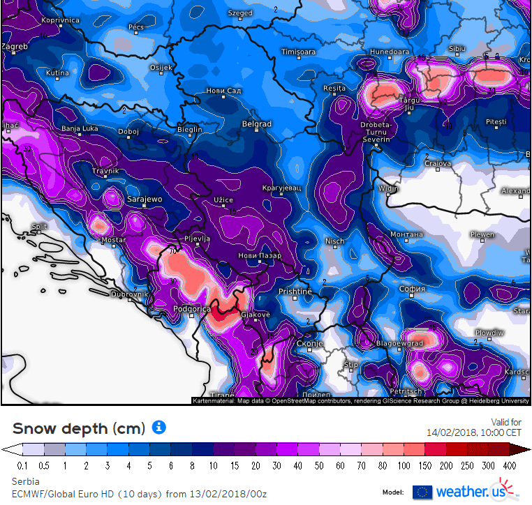 Količina snega prema ECMWF modelu sutra pre podne
