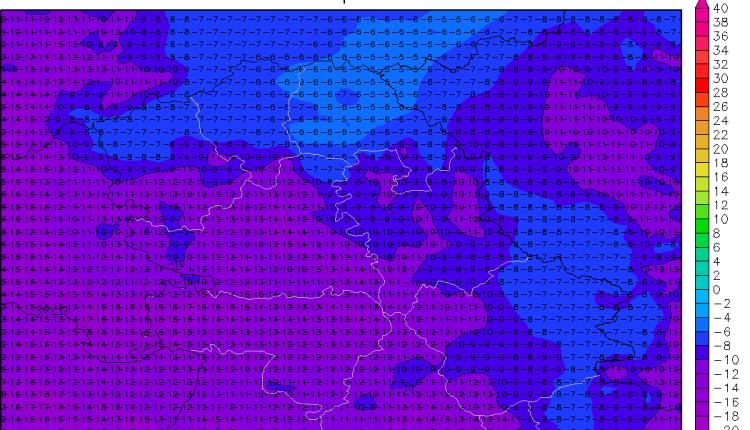Minimalne temperature u sredu prema večerašnjoj prognozi (ARW)
