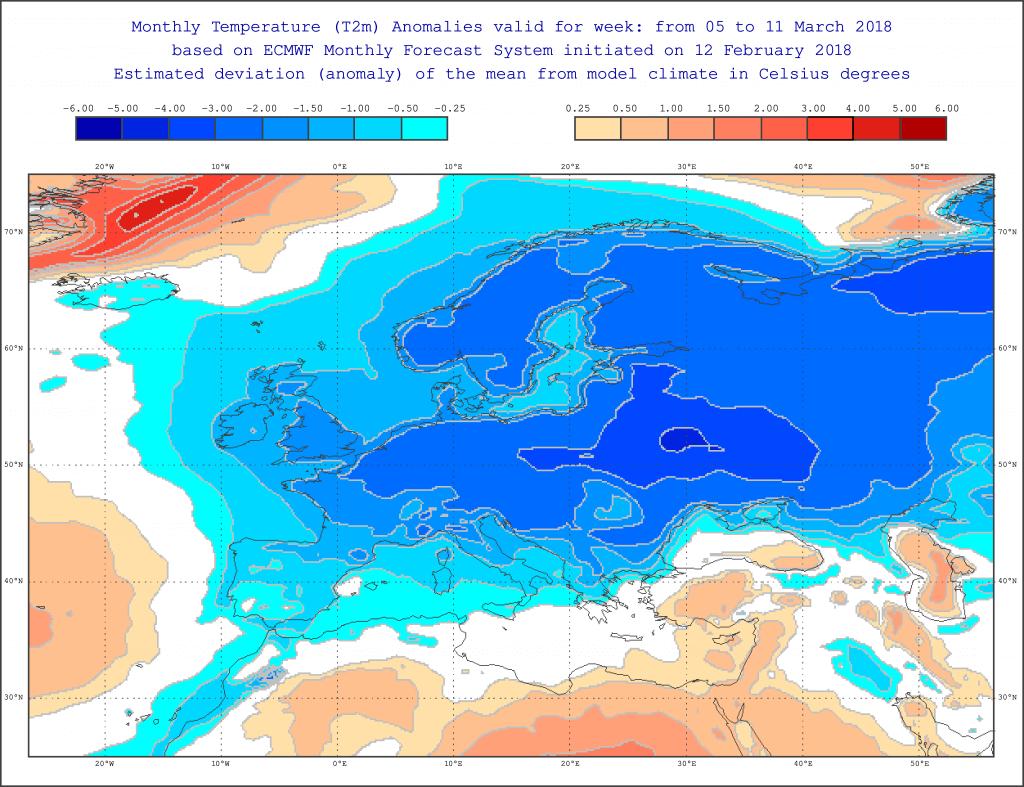 Očekivano odstupanje temperature za period 5 - 11. mart (ECMWF)