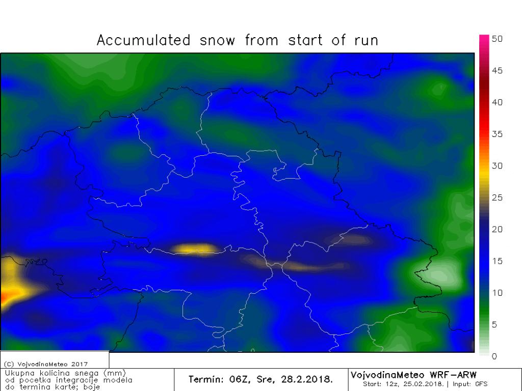 Prognozirana količina snega do srede ujutru (ARW)