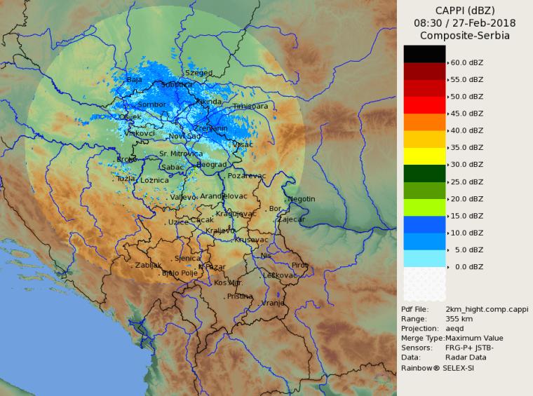 Radarska slika padavina 930h
