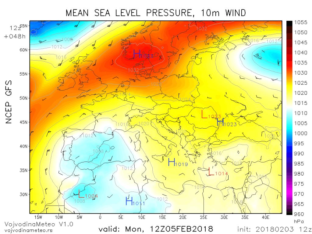 Sinoptička situacija iznad Evrope u ponedeljak (GFS)