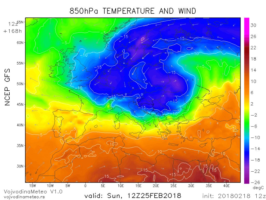 Temperatura na cca 1500m u nedelju 25. februara (GFS)