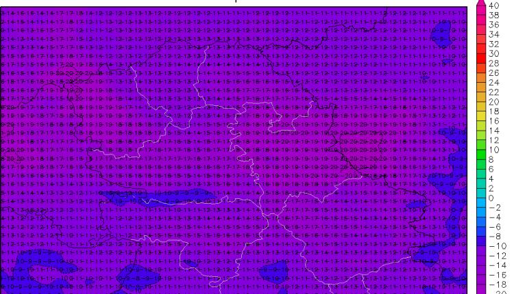 Temperature u Vojvodini u 7h po lokalnom vremenu (ARW)
