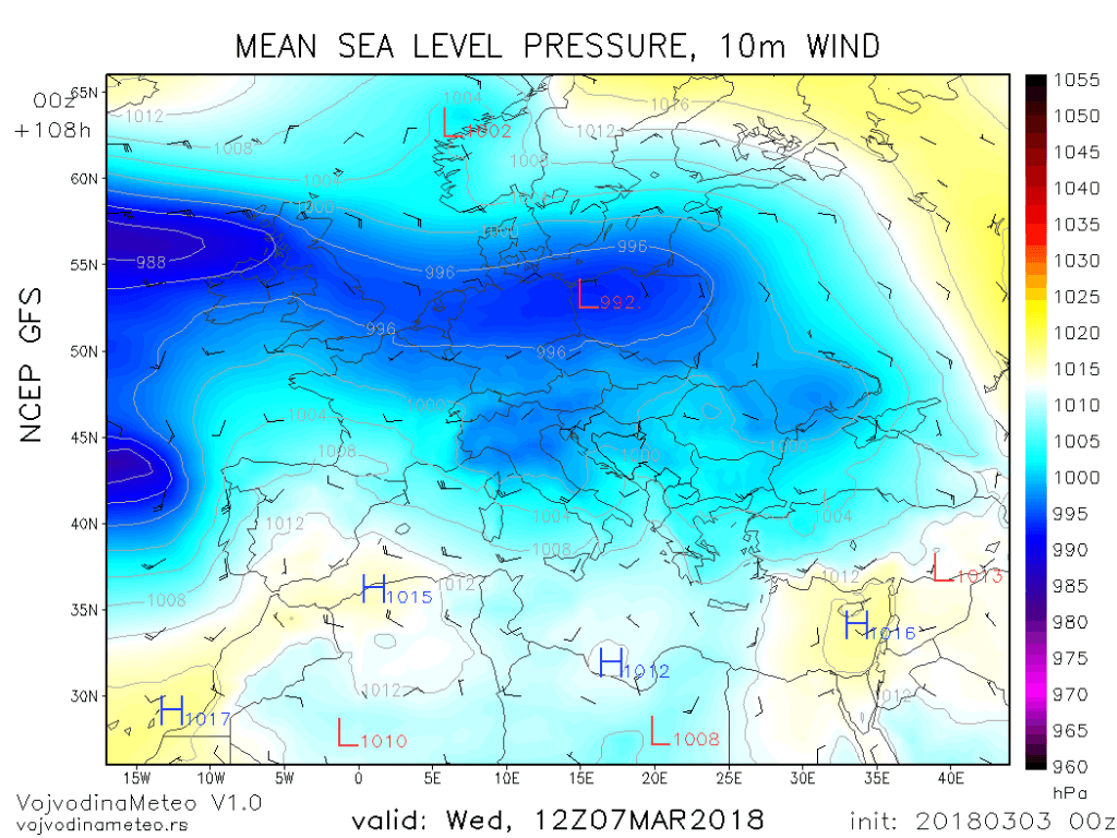 Aktivan Atlantik i ciklon nad Evropom u sredu 7. marta (GFS)