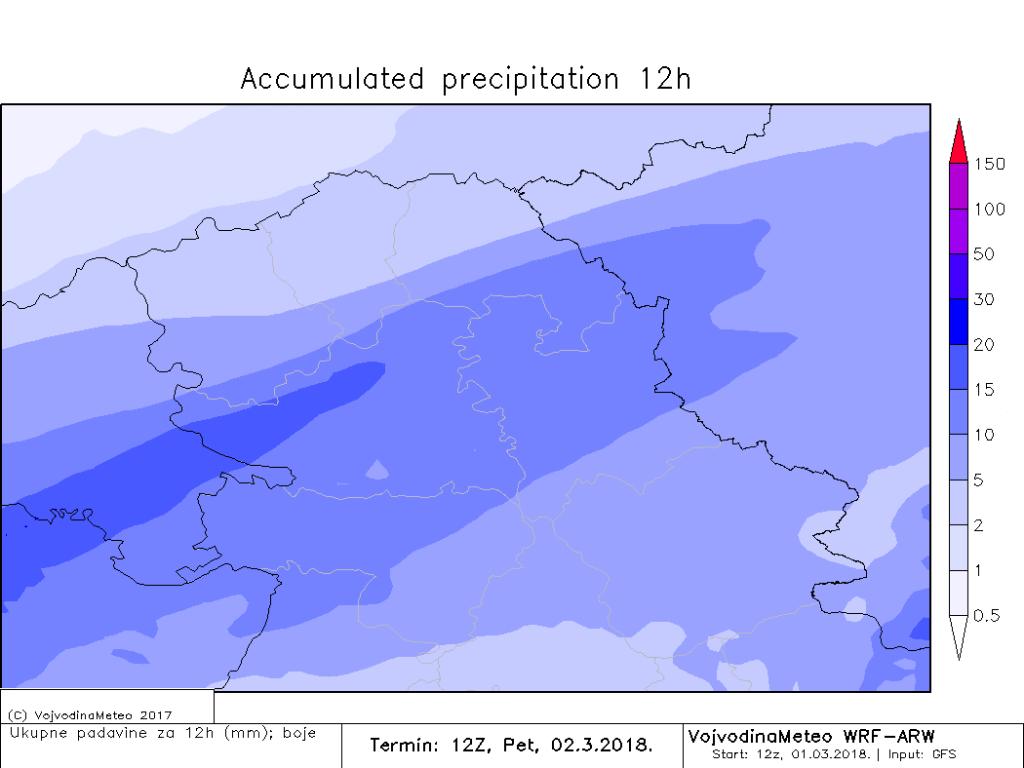 Količina padavina do sutra u 12UTC (ARW)
