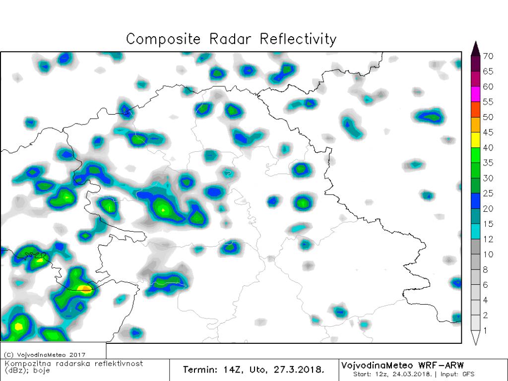 Kratkotrajna kiša ili pljusak lokalno u utorak (ARW)