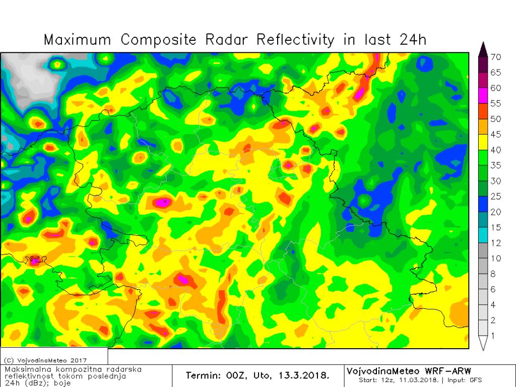 Maksimalna radarska reflektivnost u ponedeljak (ARW)