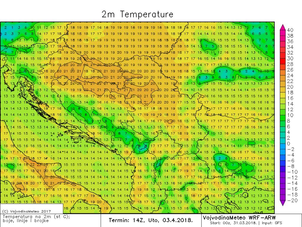 Maksimalne temperature u regionu u utorak (ARW)
