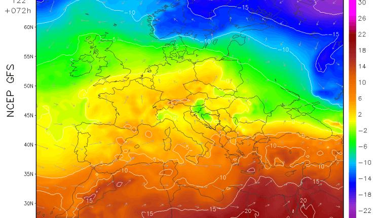 Otopljenje u ponedeljak stiže u veći deo Evrope (GFS)